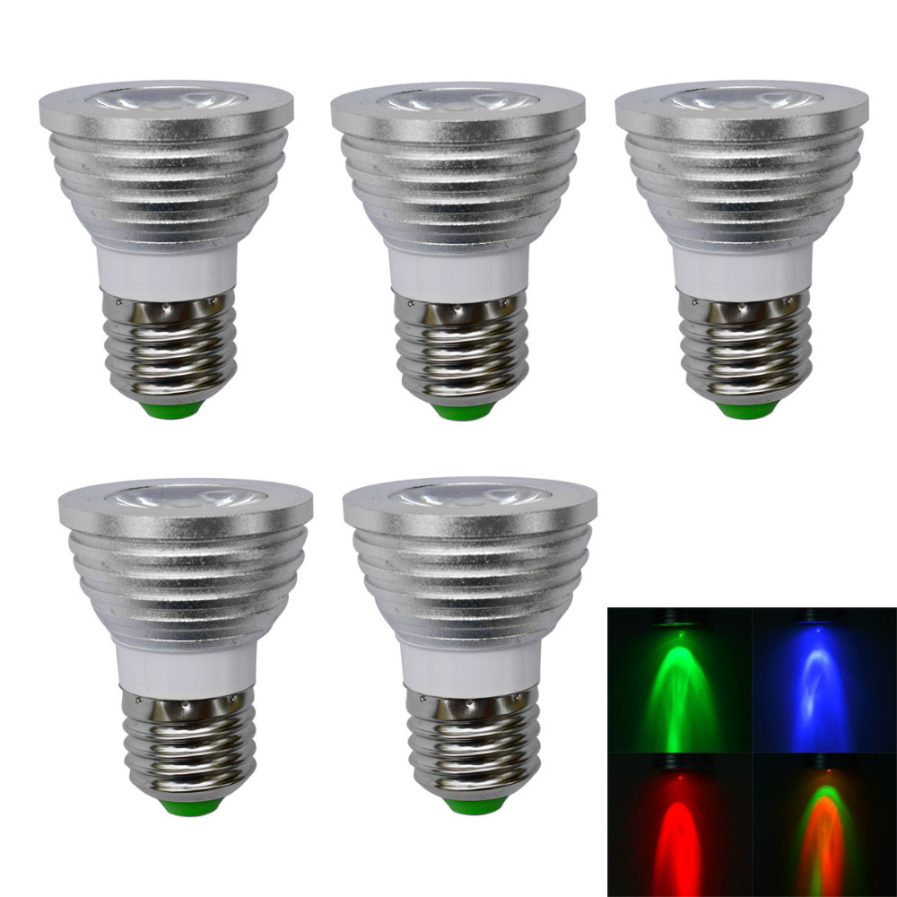 ФОТО 5pcs/lot, E27 3W 150LM 1-LED Multi-Colored RGB Light LED Spot Bulb  / Remote Control (AC 100-220V), free shipping