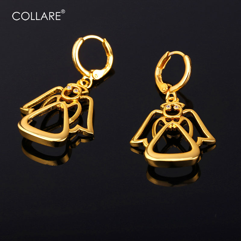 Collare Crystal Guardian Angel Earrings For Women Gold/Silver Color Wholesale Lovely Dro ...