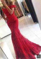 Robe De Soiree Mermaid Red Evening Dress Appliques Formal Celebrity Dresses Off The Shoulder Beaded Evening