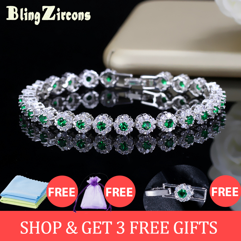 BeaQueen Na Moda Verde e Branco Cubic Zirconia Pedra Definir Senhoras Tênis Pulseiras De Prata 925 Jóias para As Mulheres B100