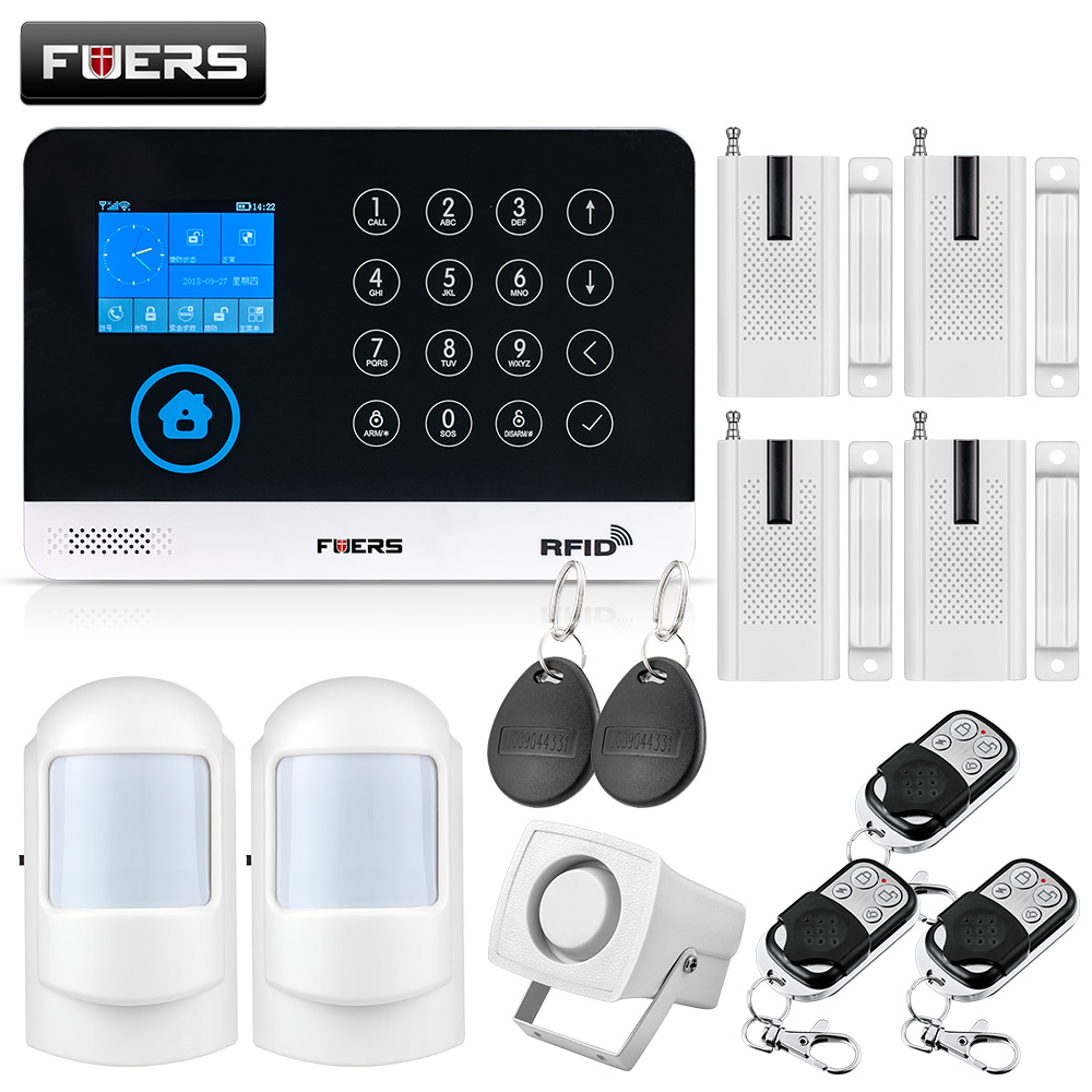 FUERS Wireless Home Security GSM WIFI SIM Alarm System IOS Android APP Remote Control RFID Card PIR Door Sensor Siren kit breathable women hemp summer flat shoes eu 35 40 new arrival fashion outdoor style light