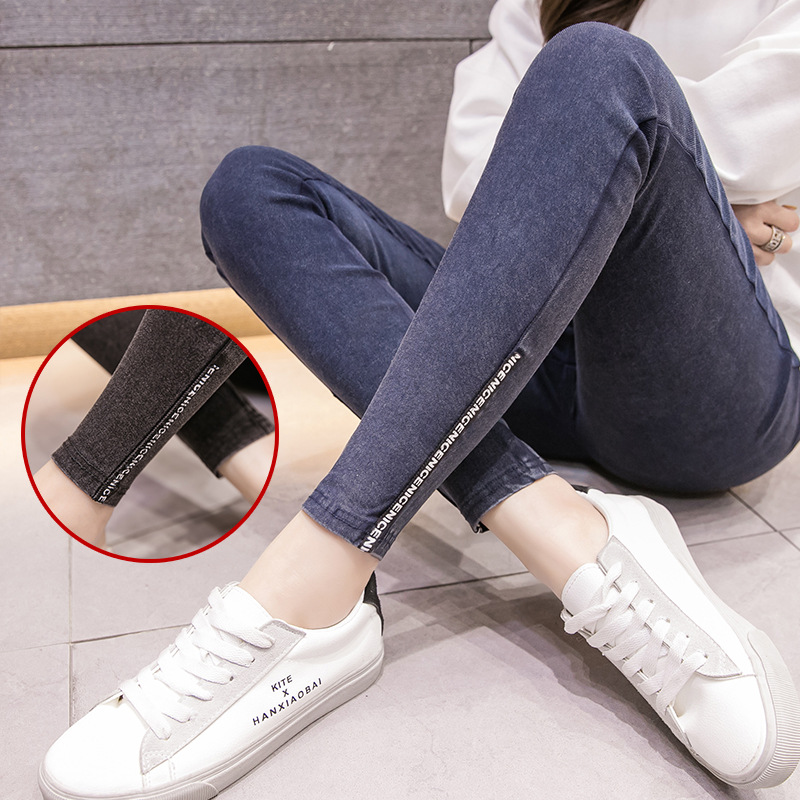 Letters Stretch Jeans Maternity Clothes For Pregnant Women Pants Skinny Pregnancy Clothing Spring Jeans Maternity Pants Gravidas