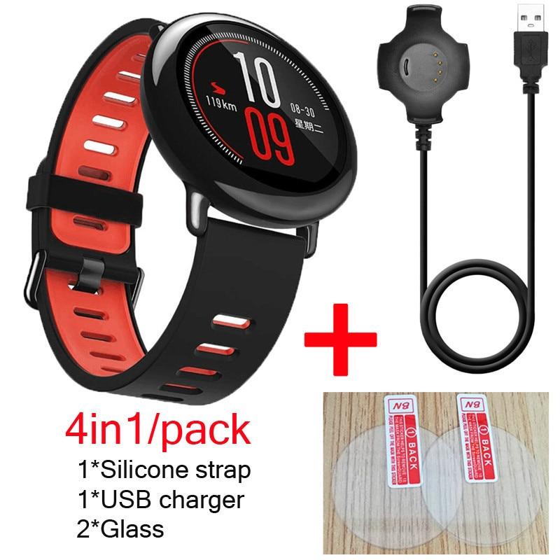 4в1 ремешок для оригинальных часов Xiaomi Huami Amazfit pace, силиконовый ремешок для часов, умные часы + USB зарядное устройство, док-станция + Защитное ст...
