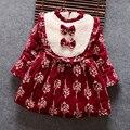 2017 Muchachas de La Princesa Vestidos Del Bebé Vestido de Manga Larga Estrellas Impreso Vestido Ropa de algodón de Los Niños de Espesor Caliente vestido de las muchachas 1 2 3 4 años