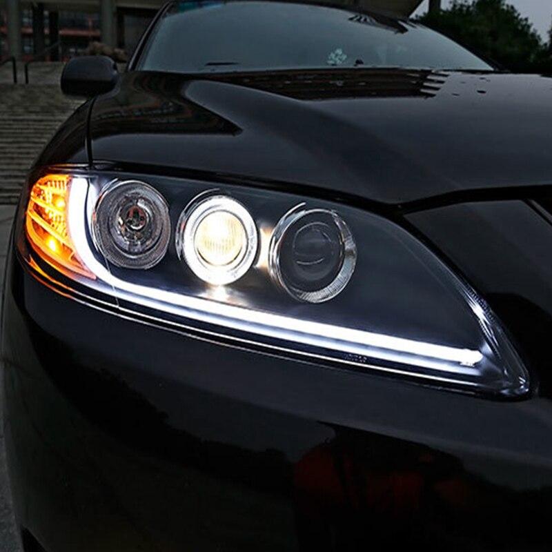 Phares de voiture pour Mazda 6 de 2003-2015 phare 1 oeil d'angle 2 Q5 Bi xénon HID D2H lentille Lowbeam mazda6 barre de lampe frontale LED DRL