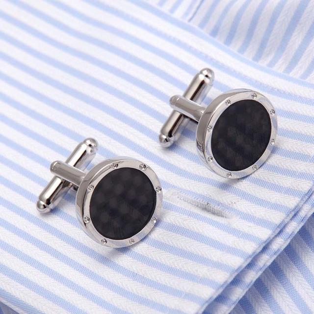 High Men's Cufflink Silver Plating Gray Round Shirt Cuff Links Wedding Cuffs 10138