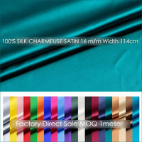 SILK CHARMEUSE SATIN 114cm width 16momme/100% Pure Mulberry Silk Fabric/Apparel sewing fabric for evening dress MOQ 1meter 31 60