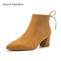 March Mordern Women Heels Leather Material Rubber Outsole Black Camel Colors Momen Shoes For Spring And