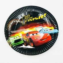 cars 10pcs/set Lightning Mcqueen Paper Plate Party Supplies Cartoon Theme For Kids Happy Birthday Decoration