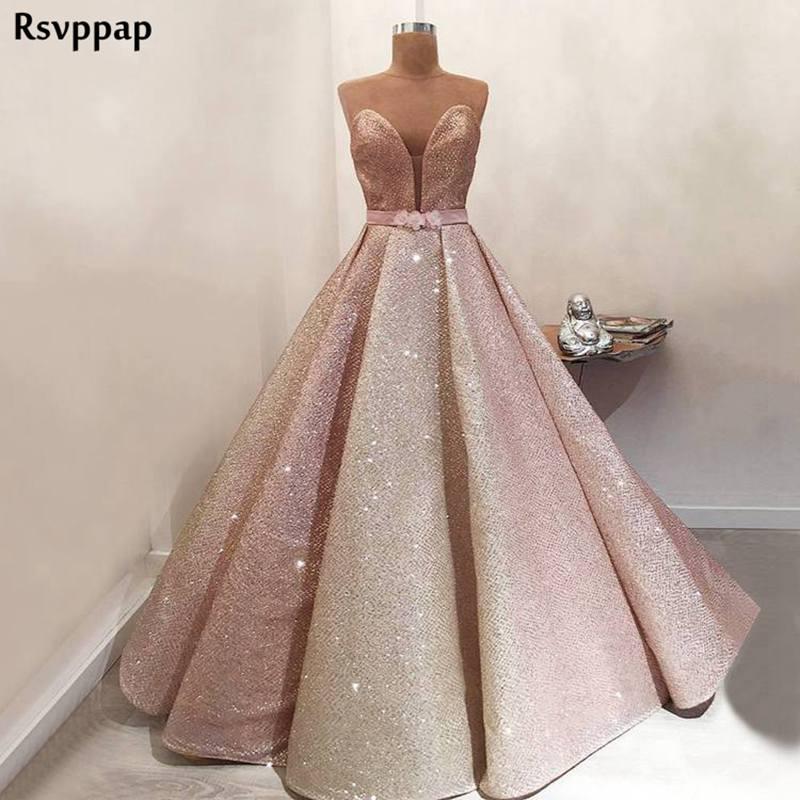 Long Rose Gold   Evening     Dress   2019 Stunning Glitter Dubai Arabic Style Floor Length Fomal Party Gowns abendkleider