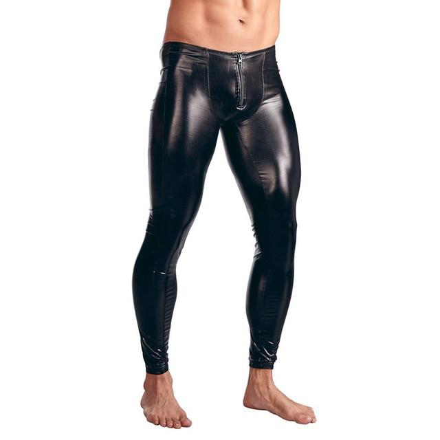 0d02f31f95b4c Gothic Men's Skinny Faux Leather Tight Pants Men Sexy Flat Front Zipper  Dance Club Leggings Black Wetlook PVC Long Trousers XXL