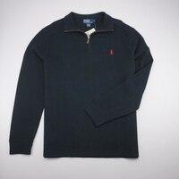 POLO RALPH LAUREN новый французский Rib Half Zip поло свитер Черный Мужские L