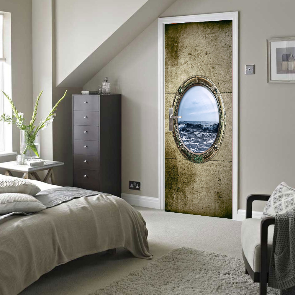 free shipping cabin window sea view door wall stickers diy mural bedroom home decor poster pvc waterproof door sticker 77x200cm - Shipping Bedroom Furniture