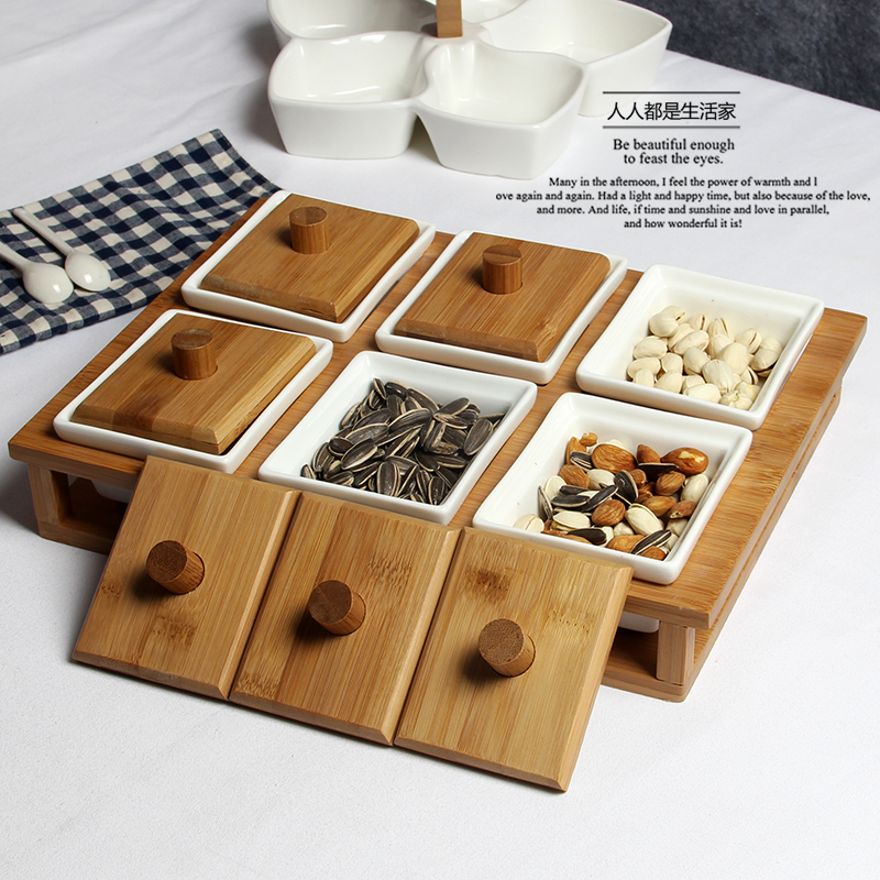 6 pcs Spice jar wood ceramics nuts Sub grid box Sugar Bowl storage tank covered nuts seeds fruit bowl candy dish snack dessert