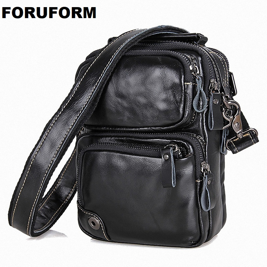 Genuine Leather Bag Men's Bags Small Shoulder Messenger Crossbody Bags Men's Leather Bag Men Handbag Casual Small Flap LI-1749 2017 summer metal ring women s messenger bags solid scrub leather women shoulder bag small flap bag casual girl crossbody bags