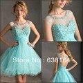 Hot & Sexy Colher A Linha Azul Tulle Frisada Lace Mini Curto Encantador vestido de Baile Vestidos de Festa Casamentos & Eventos 2014 Nova