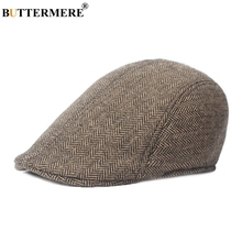 BUTTERMERE Brown Herringbone Flat Cap Beret For Mens Women Cabbie Vintage Wool Tweed Duckbill 2019 Winter Warm Hat And Caps