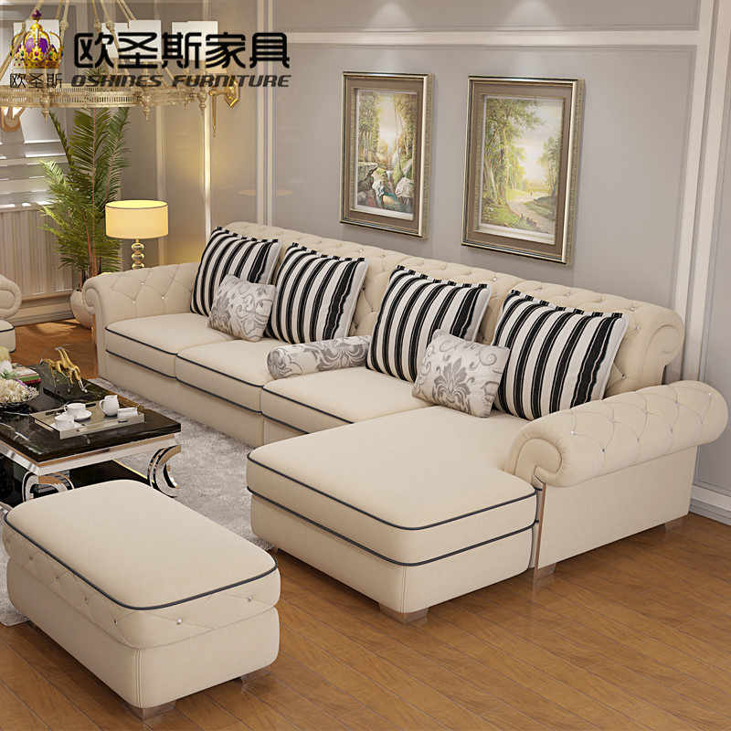 Luxury High Quality Europe Enviromental Material Crystal On Stailess Steel Light Yellow Full Velvet Fabric Sofa Set 112f