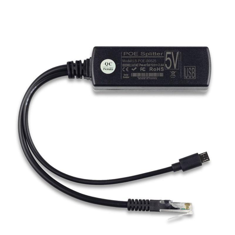 Popular PoE Splitter Power Over Ethernet 48V to 5V 2.4A Micro USB Adapter 12WPopular PoE Splitter Power Over Ethernet 48V to 5V 2.4A Micro USB Adapter 12W