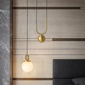 Image 4 - American Post modern Electroplating bronze Stretchable Glass pellet Chandelier Bedroom machine head Living room Coffee shop