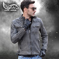 FREE SHIPPING 2017 Retro Vintage Motorcycle Men Leather Jacket Grey Stand Collar Short Slim Fit Genuine Cowskin Male Biker Coat