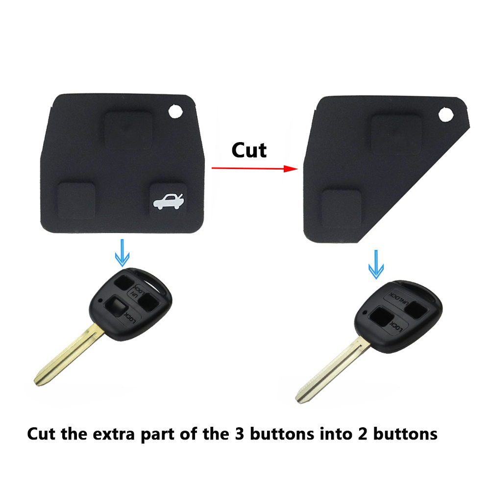 1x New 2//3 Button Black Car Remote Key Rubber Pad Durable Hot For TOYOTA Avensis