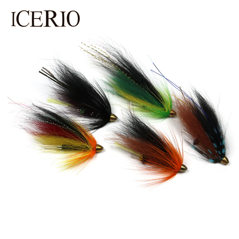 все цены на ICERIO 10PCS Conehead Tube Streamer Flies for Salmon Trout and Steelhead Fly Fishing Lures онлайн