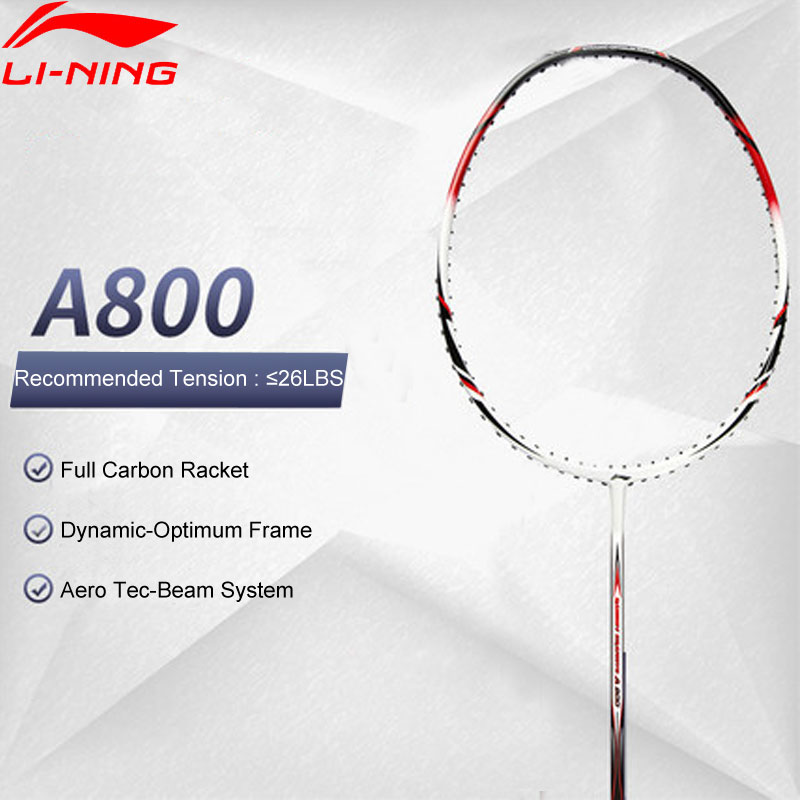 Li-Ning A800 Badminton Racket Full Carbon Ball Control No String Basic Model LiNing Durable Single Sport Racquets AYPG356 EJFM17
