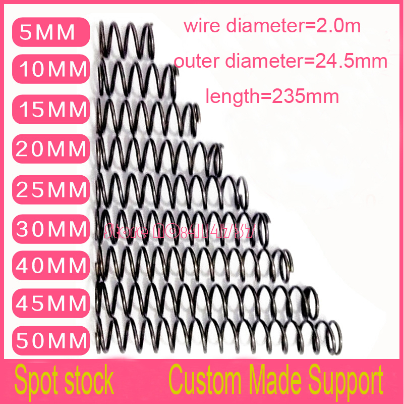 5pcs 2*24.5*235mm series  spot spring  2mm wire compression pressure springs spring length=235mm