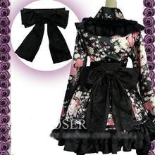 Anime japonés kimono lolita fashion party dress cosplay maid negro traje de la flor s-l