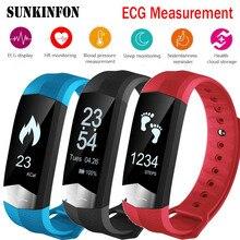Купить с кэшбэком CD01 ECG Blood Pressure Monitor Bluetooth Smart Wristband Sport Fitness Smart Band Bracelet Tracker for iPhone 8 / 8 Plus / X