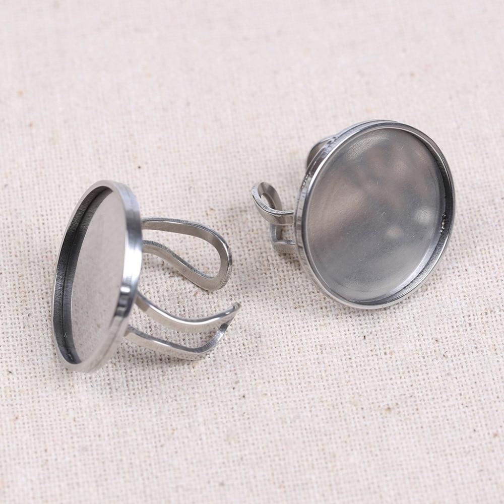 reidgaller 5pcs 25mm cabochon ring base stainless steel blank metal rings bezel tray diy jewelry findings