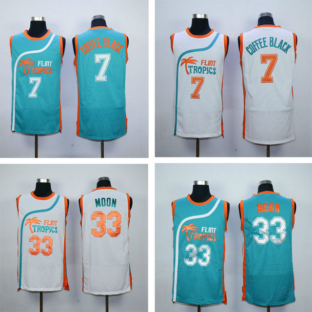 33 Jackie Moon Flint Tropics Semi Pro Movie Basketball Jersey Stitched 7  Coffee Black Shirts Green White S-2XL Free Shipping e240217c6