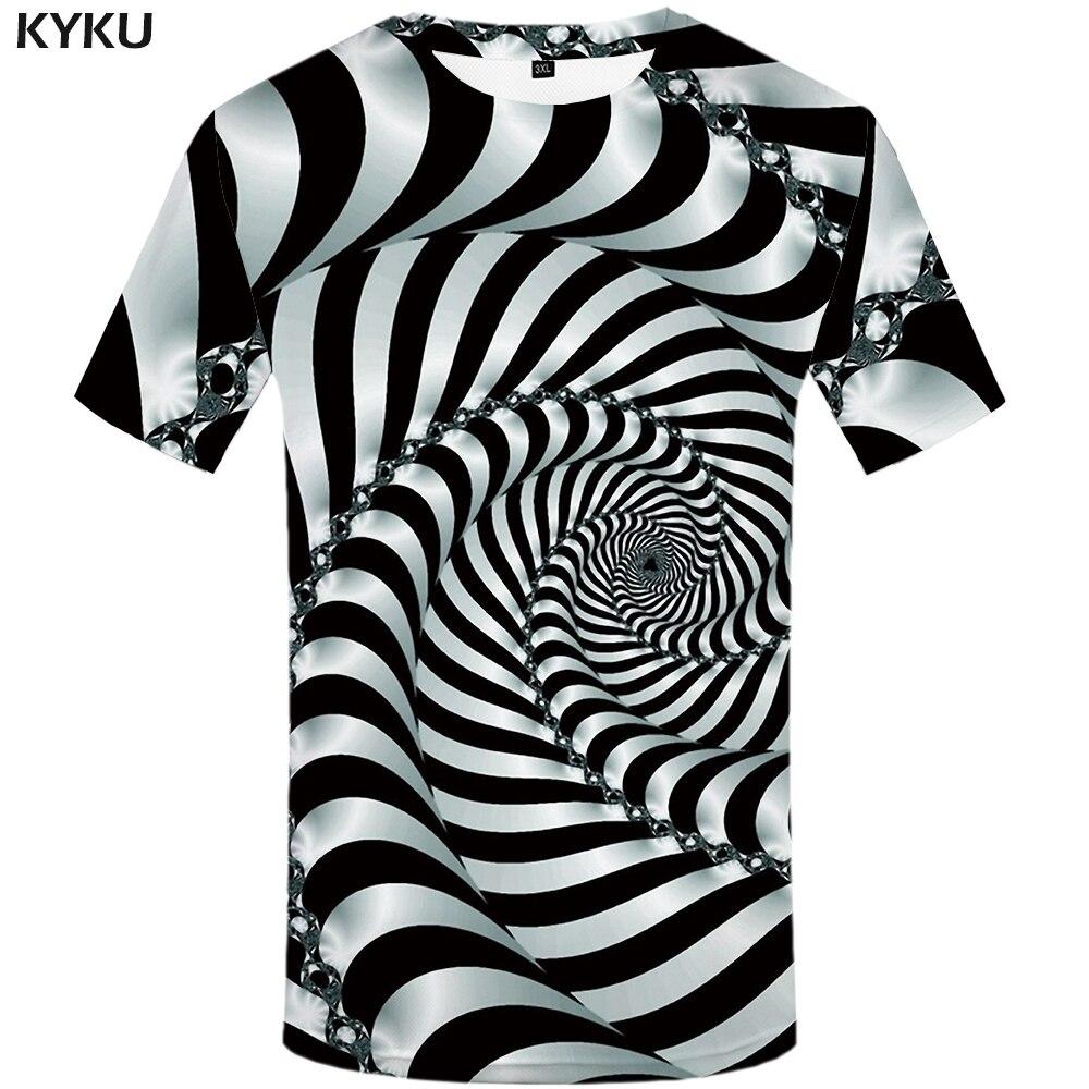 KYKU Psicodélica T Camisa Dos Homens Preto E Branco 3d Tshirt Roupas Punk Rock Preto Buraco Imprimir T-shirt de Hip Hop Dos Homens roupas de Verão