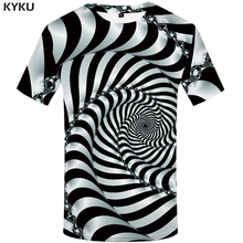 KYKU Psychedelic T Shirt Men Black And White 3d Tshirt Punk Rock Clothes Hole Print T-shirt Hip Hop Mens Clothing Summer