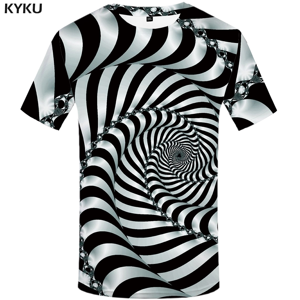 KYKU Psychedelic   T     Shirt   Men Black And White 3d Tshirt Punk Rock Clothes Black Hole Print   T  -  shirt   Hip Hop Mens Clothing Summer