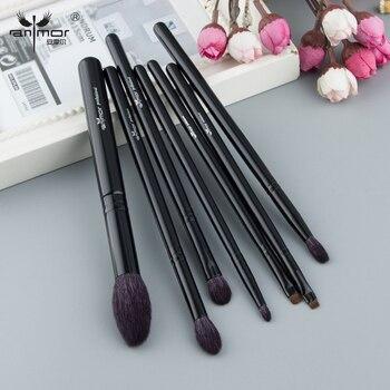 Anmor Pêlo de cabra de Alta Qualidade Make Up Brushes Set Preto Handle Brushes Para Ferramentas de Maquiagem Cores de Sombra Blending