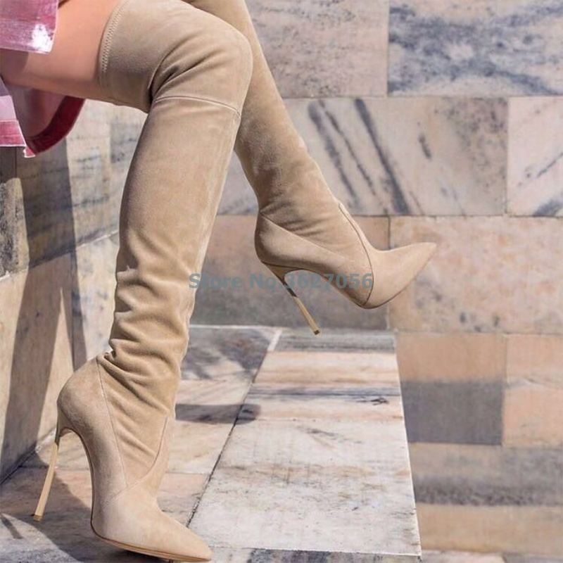 Черный, хаки, темно серые ботфорты обтягивающие ботинки с высоким голенищем из овечьей кожи зерна пикантная женская обувь Острый носок замш