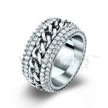 Vecalon cadena de Rotación del anillo Mujeres Hombres Joyería 240 unids de diamantes Simulados Cz 925 Engagement wedding Band anillo de Plata del amante