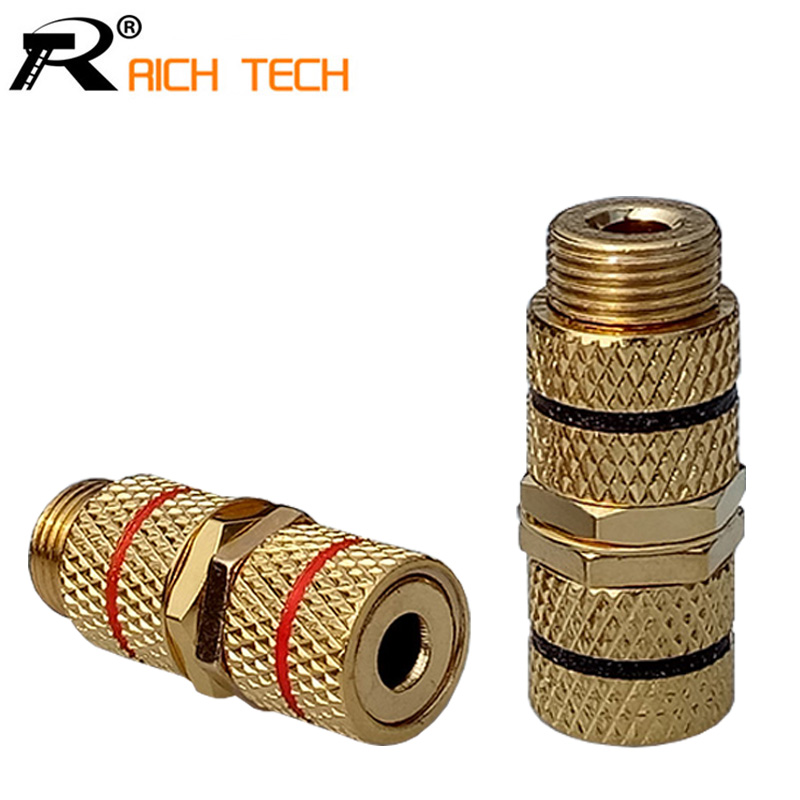 1pair/2pcs R Connector 4.0mm Banana jack socket Straight Terminals Binding Post Banana Speaker Plug Jack gold-plated black&red 30 pcs copper gold plated audio speaker binding post banana jack connectors high quality minijack plug wire connector