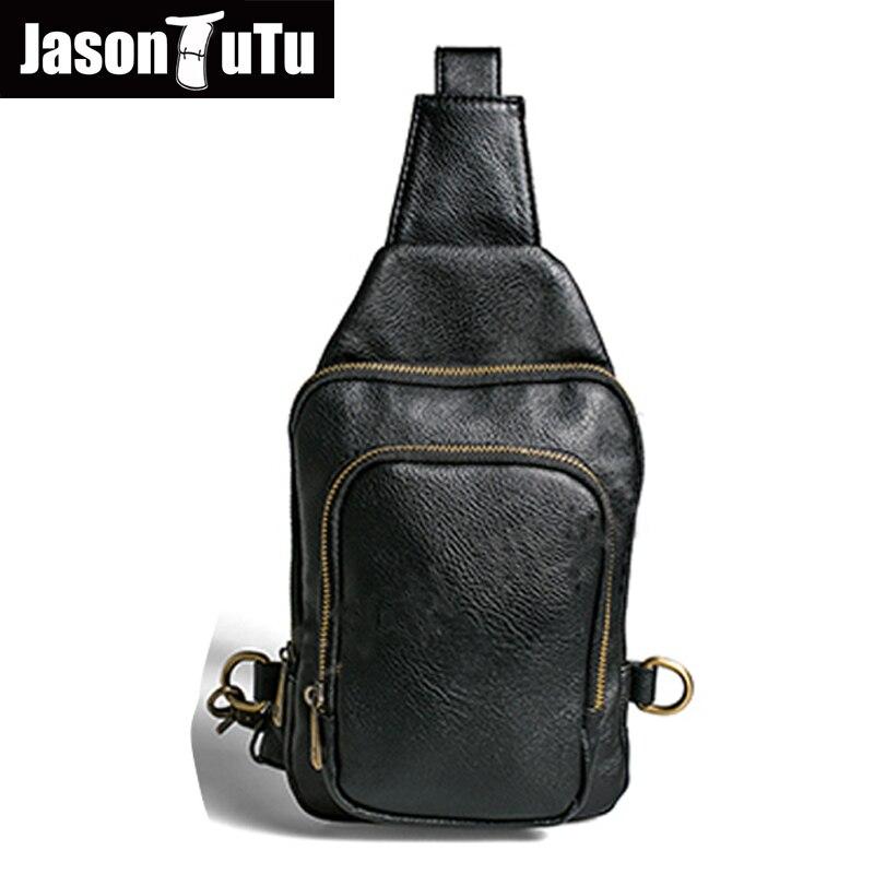 JASON TUTU Brand Design Small Shoulder Bag Leather Chest Pack Vintage Crossbody bag Black Blue Cool Bags Bolsos B05