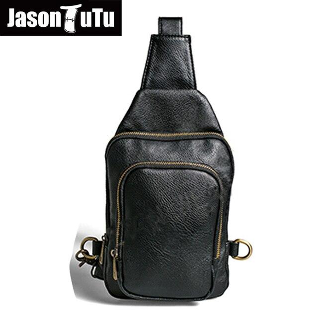 925d9ca07a41f JASON TUTU Marke Design Kleine Umhängetasche Leder Brust Packen Vintage  Crossbody tasche Schwarz Blau Cool Taschen