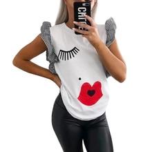 98eb0052 GUMPRUN Women Clothes 2019 Summer Eyelashes Eyes Lips Solid T Shirt Ladies  Ruffle