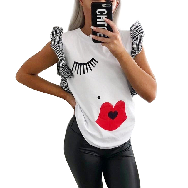 GUMPRUN Women Clothes 2019 Summer Eyelashes Eyes Lips Solid T Shirt Ladies Ruffle White Casual Top Female office Print Tshirt