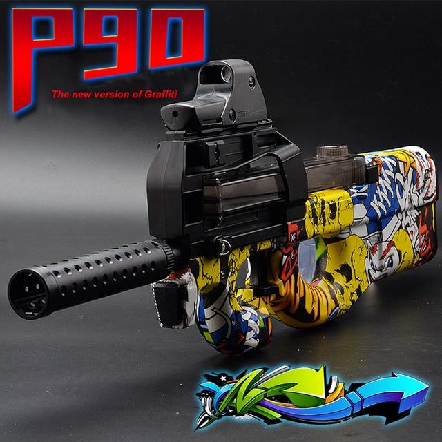Cool Stuff P90 Electric Auto Toy Gun Graffiti Edition Live CS Assault Snipe Weapon Water Bullet Bursts Gun Funny Outdoor Pistol Toys 4