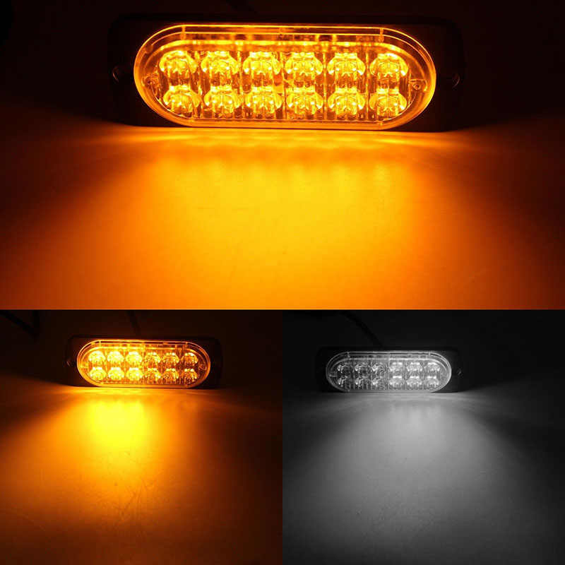 Ultra-Slim LED 36W Police Lights 12 LED Car Emergency Truck Side Strobe Warning Light Car Light 12V-24V tx