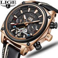 2019 New LIGE Mens Watches Top Brand Luxury High Quality Automatic Mechanical Sports Watch Men Tourbillon Watch Waterproof Clock