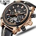 2019 nuevos relojes LIGE para hombre de marca superior de lujo de alta calidad reloj deportivo mecánico automático para hombre reloj Tourbillon reloj impermeable