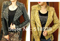 Novo 2014 Mulheres zipper glod preto Punk Forte de Spike Rivet Studded Shoulder Serpente Padrão PU Leather Jacket Brasão outono streetwear