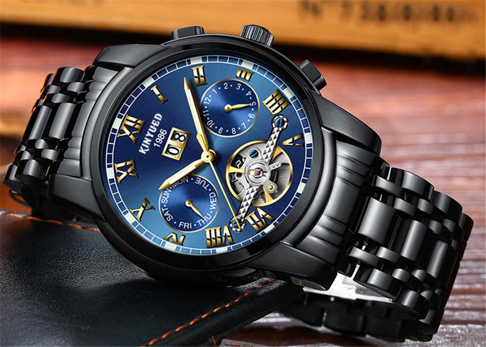 76e80ccb1056e KINYUED رجالي ساعات أعلى العلامة التجارية الفاخرة التلقائية ...
